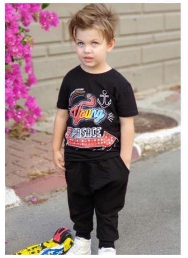 Riccotarz Erkek Çocuk Young Baskılı Eşofman Takım Siyah